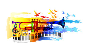 Musikhintergrund mit Trompete Lizenzfreies Stockbild