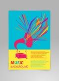 Musikhintergrund-Vektorschablone mit Grammophon Stockfoto