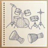 Musikhupe stellte 3 ein Trommeln eingestellt perkussion Auch im corel abgehobenen Betrag stock abbildung