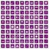 100 Musikikonen stellten Grunge purpurrot ein stock abbildung