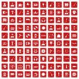 100 Musikikonen stellten Grunge rot ein stock abbildung