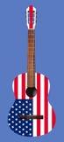 Musikinstrument - Akustikgitarre mit dem Bild einer Flagge von Stockfoto