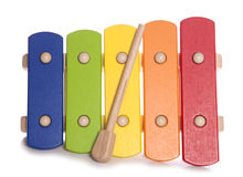 Musikinstrument des Regenbogen-Xylophons Stockbild
