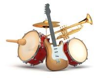Musikinstrument. Gitarr, valsar och trumpet. vektor illustrationer