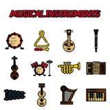 Musikinstrument sänker symbolsuppsättningen vektor illustrationer