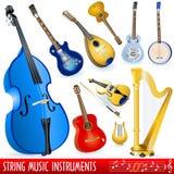 Musikinstrumente der Zeichenkette Lizenzfreie Stockfotos