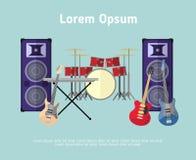 Musikinstrumente des Rockbands in der flachen Art Stockbilder