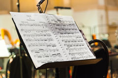Musikinstrumente und Noten Lizenzfreie Stockbilder