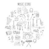 Musikinstrumente und Symbole Lizenzfreies Stockbild