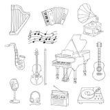 Musikinstrumente und Symbole Stockbild