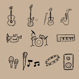 Musikinstrumentikonen eingestellt lizenzfreie abbildung