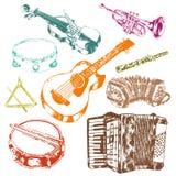 Musikinstrumentikonen-Farbsatz lizenzfreie abbildung