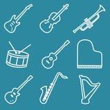 Musikinstrumentlinje symbolsuppsättning Fotografering för Bildbyråer