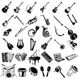 Musikinstrumentschwarzikonen Stockbild