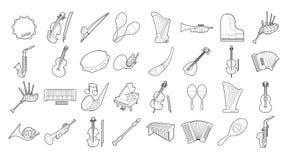 Musikinstrumentsymbolsuppsättning, översiktsstil stock illustrationer