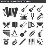 Musikinstrumentsymbolsuppsättning Royaltyfri Fotografi