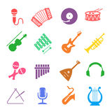 Musikinstrumentsymbolsuppsättning Fotografering för Bildbyråer