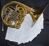 Musikinstrumentvalthornlögner på en vit bakgrund med den notesMusical instrumentvalthornet ligger på en svart bakgrund med royaltyfria bilder