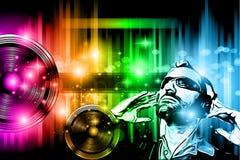 Musikklubbabakgrund för diskodansreklamblad Arkivbild