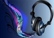 Musikkopfhörerschwarzes Lizenzfreie Stockfotos