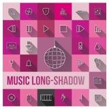 Musiklång-skugga stock illustrationer