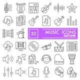 Musiklinjen symbolsuppsättningen, ljudsignala symboler samlingen, vektor skissar, logoillustrationer, linjära pictograms för soli Arkivbild