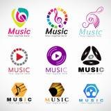 Musiklogo-Vektorbühnenbild - Musik Schlüsselzeichen und CD spielen Zeichen und Kopfhörerzeichen Stockfotografie