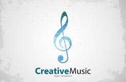 Musiklogovektor Musikalische Grundgedankeschablone kreativ stock abbildung