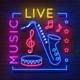 Musikneontecken Gl?dande karaokebaner, ljusemblem f?r levande musik, retro affisch f?r diskoklubba Vektormusik och solitt neon royaltyfri illustrationer