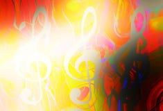 Musiknotenschlüssel im Sonnenlicht und im Farbhintergrund Abbildung der elektrischen Gitarre Stockfotos