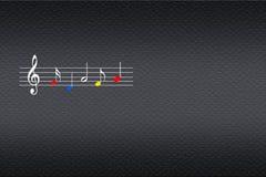 Musiknotsystem med färgrika musikaliska anmärkningar på den mörka bakgrunden royaltyfri illustrationer