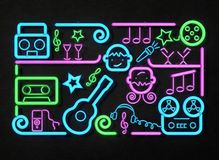 Musikparteileuchtreklame Helles Schild, Illustration des Neonlichtes 3D Stockfoto
