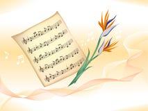 Musikpersonal und -blumen Lizenzfreie Stockfotografie
