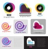 Musikpianologo Jazzlogo Logotyp för tecken för vinylrekord Fotografering för Bildbyråer