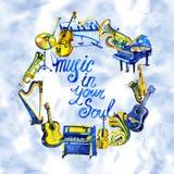 Musikrahmen mit Musikinstrumenten und Anmerkungen Hand gezeichnete Aquarellillustration Lizenzfreie Stockfotos