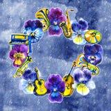 Musikrahmen mit Sommer- und Frühlingsstiefmütterchenblumen, Anmerkungen Hand gezeichnete Aquarellillustration Stockfotografie