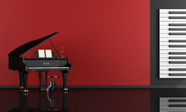 Musikraum mit Flügel Stockbilder