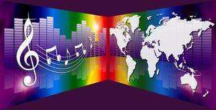 musikregnbågevärld stock illustrationer