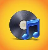 Musiksymbol med vinyl Arkivfoto