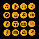 16 musiksymboler eller knappar Royaltyfri Illustrationer