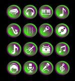 16 musiksymboler eller knappar Stock Illustrationer
