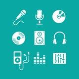 Musiksymboler för app Royaltyfria Bilder