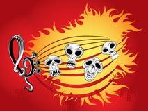 Musiktapete mit den Schädeln lizenzfreie abbildung