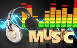 musiktecken för hörlurar 3d Arkivfoto