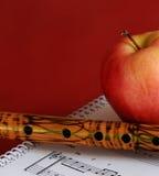 Musikunterrichte mit Bambusflöte Stockbild