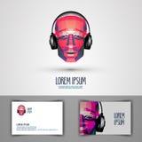 Musikvektorlogo-Designschablone Kopfhörer oder Lizenzfreie Stockfotografie