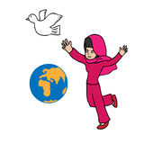 Musilm girl globe and peace. Muslim girl globe and peace cartoon vector Royalty Free Stock Images