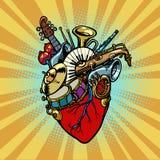 Musique au coeur, instruments orchestraux musicaux Image stock