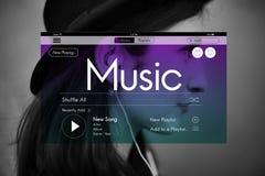 Musique coulant le concept instrumental de Podcast de Playlist Photos libres de droits