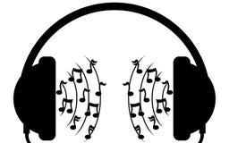 Musique dans des écouteurs Images libres de droits